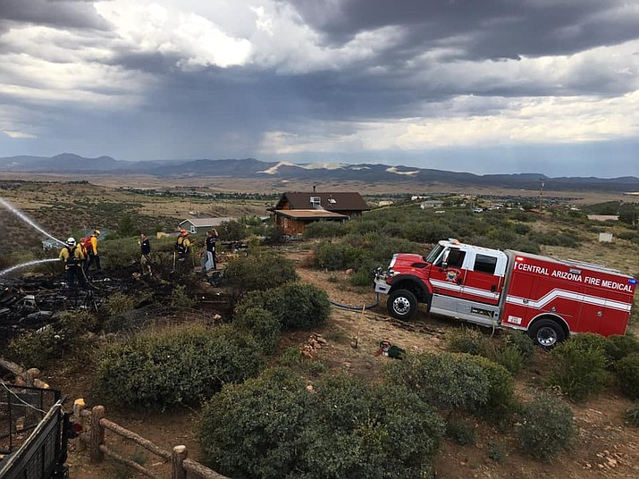 Central Arizona Fire and Medical Authority (CAFMA) crews put out a structure fire in the Blue Hills area of Dewey on Thursday, July 16, 2020. No injuries were reported. (CAFMA/Courtesy)
