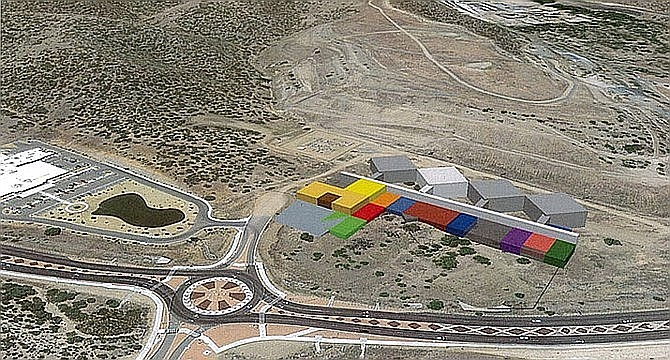 This image shows the proposed design of the Yavapai County Criminal Justice Center on its chosen site south of Prescott Lakes Parkway. The white building indicates the first of four pods to be built. (Yavapai County/Courtesy)