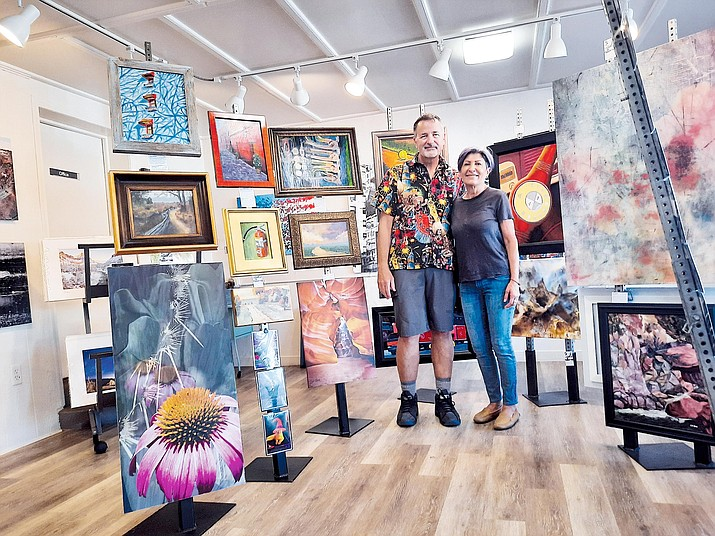 Bob and Zeina Cook amidst their eclectic collection of art in their newly opened gallery, A Propos, in Old Town Cottonwood. VVN/Jason W. Brooks