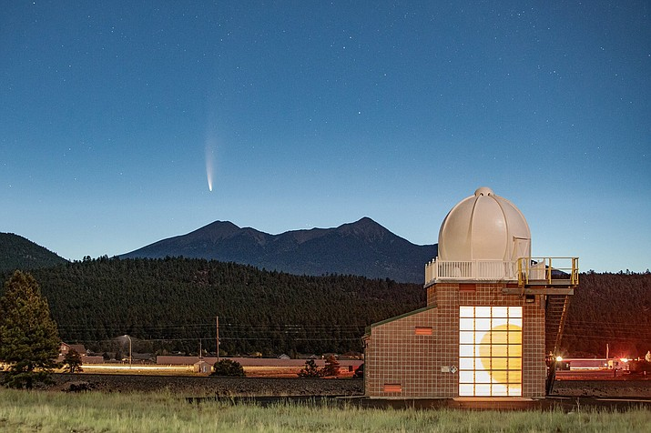 The Comet Neowise streaks across the sky as seen from the National Weather Service office in Bellemont July 11. (Photo/Brian Klimowski, NWS Flagstaff)