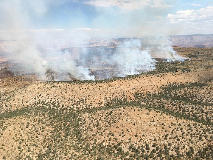 Wildland fire crews work the Thumb Fire in Grand Canyon National Park. The lightning caused wildfire has grown to 6,200 acres as of July 20. (Photo courtesy of Inciweb)