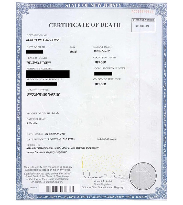 This image provided by the Nassau County District Attorney's office in Mineola, N.Y., shows a fake death certificate with some information redacted by the DA's Office. Robert Berger tried faking his death to avoid a jail sentence, but the phony death certificate his lawyer submitted had a glaring spelling error that made it a dead giveaway for a fraud, prosecutors said Tuesday, July 21, 2020. (Nassau County District Attorney's Office via AP)