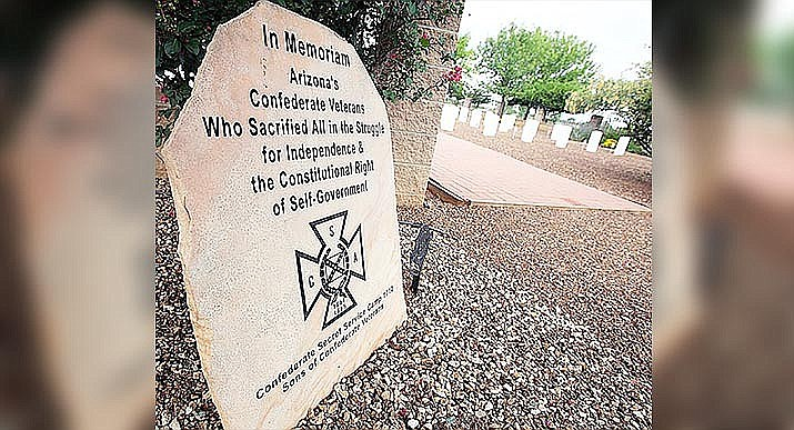 This is the remaining Confederate memorial on state property, located at the Arizona Veteran Cemetery in Sierra Vista. A brass plaque at Picacho Peak State Park honoring Confederate soldiers who fought there, one that activists have sought to have the governor ordered removed, actually was stolen a month ago. (Photo by Mark Levy, Sierra Vista Herald/Review)