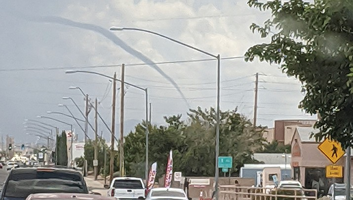 Stormy weather in the Kingman area spawned a tornado which Patrick Verville photographed from his vehicle at about 10:50 a.m. Friday, July 24. (Courtesy photo by Patrick Verville)