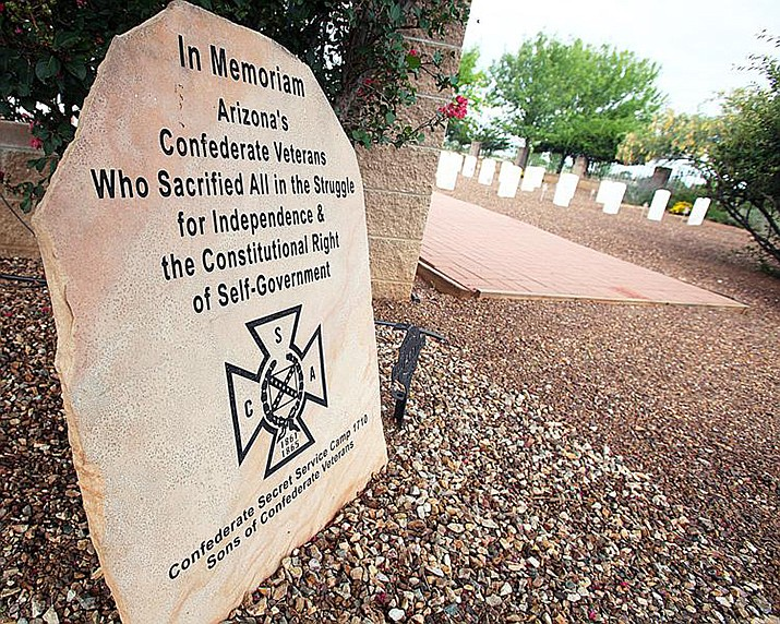 This is the remaining Confederate memorial on state property, located at the Arizona Veteran Cemetery in Sierra Vista. (Photo by Mark Levy/Sierra Vista Herald/Review)
