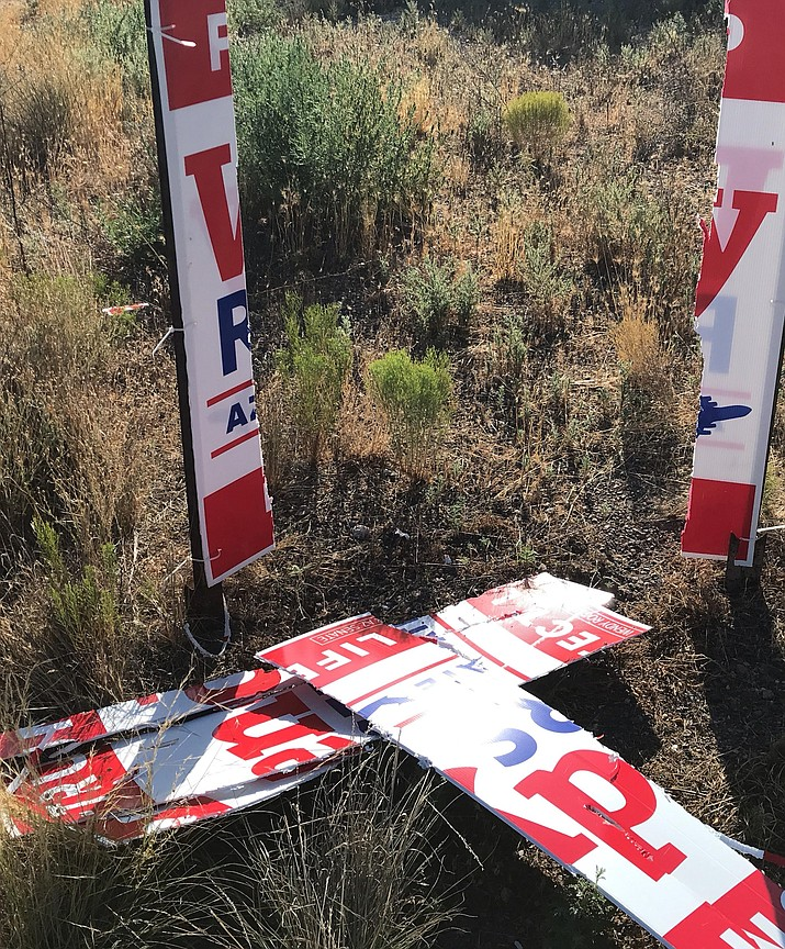 These are some of the political campaign signs Camp Verde Code Enforcement Officer Cliff Bryson reported destroyed on July 22. Photos courtesy Cliff Bryson/Town of Camp Verde