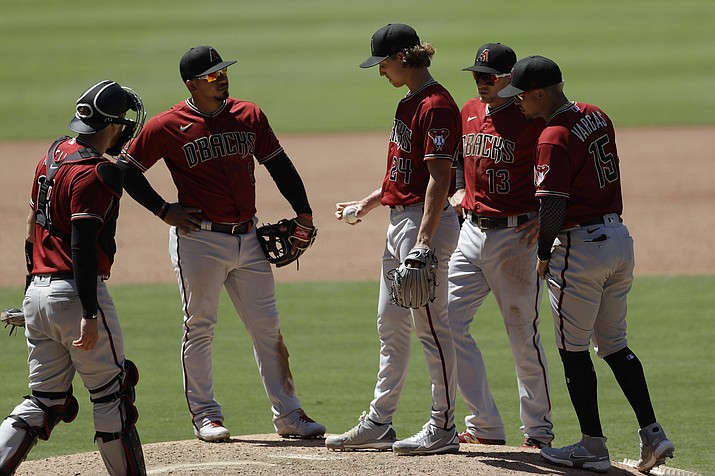 Arizona Diamondbacks starting pitcher Luke Weaver, middle, meets players on the mound before leaving during the fourth inning of the team's baseball game against the San Diego Padres, Monday, July 27, 2020, in San Diego. (Gregory Bull/AP)