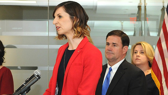 Arizona public schools chief Kathy Hoffman is shown at a press conference earlier this year with Gov. Doug Ducey. WalletHub has determined that Arizona has the third-worst school system in the nation. (Capitol Media Services file photo by Howard Fischer)