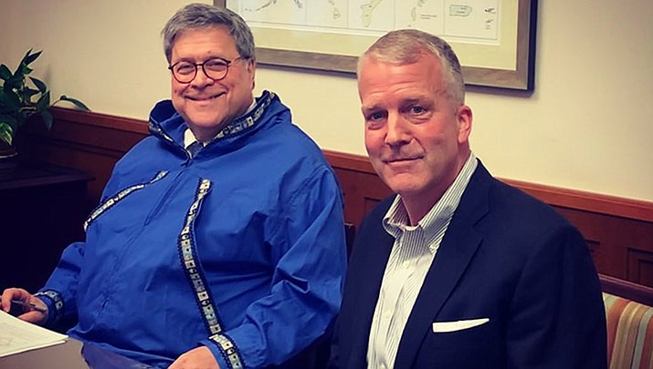 U.S. Attorney General William Barr, left, and U.S. Sen. Dan Sullivan are shown in Alaska. Barr testified before Congress on Tuesday, July 28 about the federal response to protests in Portland, Washington and other cities. (Photo by the office of Sen. Dan Sullivan/Public domain)