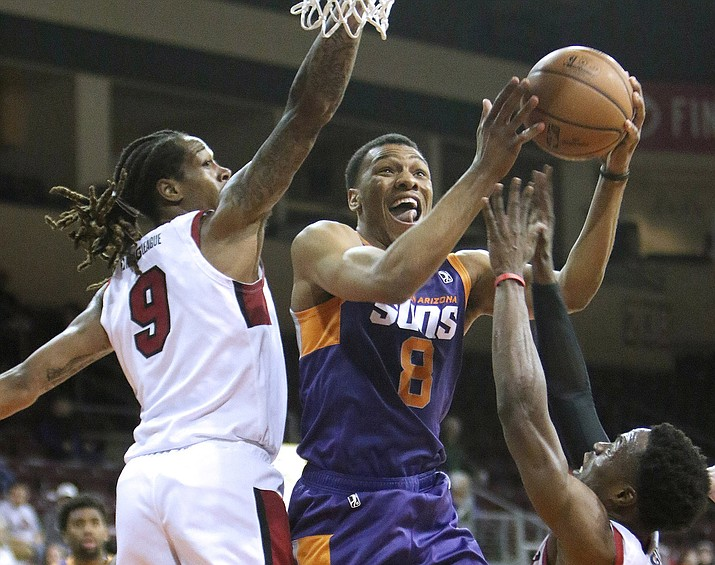 Northern Arizona Suns guard George King (8) looks to shoot Jan. 6, 2018, in Prescott Valley. The Suns are relocating to Phoenix to play at to-be-determined arena for the 2020-21 season, then are being sold to the NBA's Detroit Pistons for the 2021-22 season and beyond. (NAZ Suns/Courtesy)