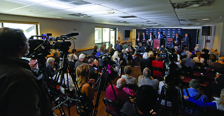 The Phoenix Suns hold a press conference at the Findlay Toyota Center announcing the arrival of the Northern Arizona Suns. Formally the Bakersfield Jam of the then-NBA D-League (Now NBA G League) were purchased by Phoenix and moved to Prescott Valley in April 2016. Now four years later, the team is moving to Phoenix to play one season (2020-21), then is being sold to the Detroit Pistons of the NBA. (Courier file photo)