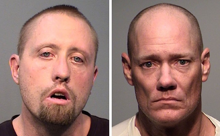 """Brady Bennett, 34, and John McVeigh, 47, were arrested by Yavapai County Sheriff's Office deputies found 11 grams of methamphetamine, 34 blue """"M30"""" pills believed to be fentanyl, a loaded syringe containing a brown substance likely heroin, and several items of drug paraphernalia in their motel room. They were also in the hotel room with an underaged girl. (YCSO/Courtesy)"""