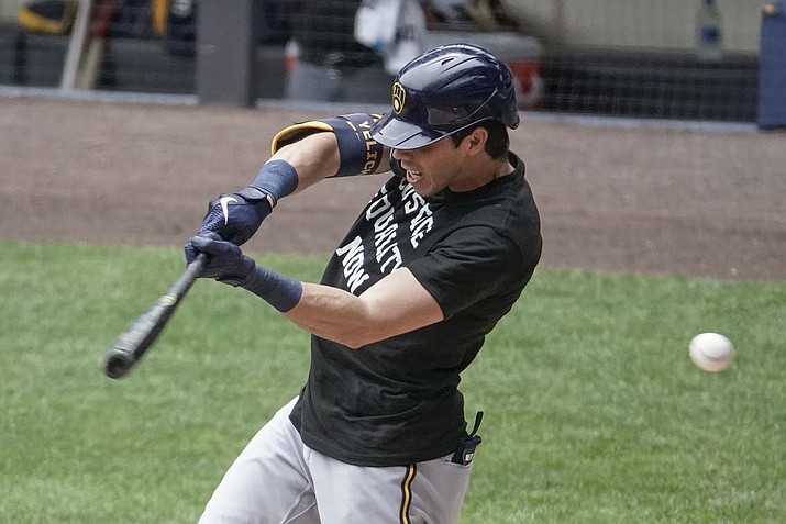 Milwaukee Brewers' Christian Yelich strikes out during an intrasquad game Tuesday, July 21, 2020, at Miller Park in Milwaukee. (Morry Gash/AP)