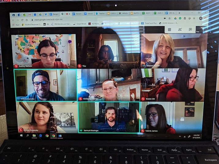 A Google video platform is used to host a staff meeting for Coyote Springs Elementary School in the Humboldt Unified School District. This is the same platform teachers will be using to connect with students for online lessons through the October fall break. (Kelly Lee/Courtesy)