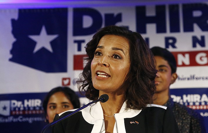 Democratic candidate for the 8th Congressional District, Dr. Hiral Tipirneni talks to supporters on Tuesday, April 24, 2018, in Glendale, Ariz. Tipirneni, a physician who lost a special and general election efforts in 2018 to win the GOP-heavy 8th District but earned strong name identification and has far outraised the other three Democrats on the ballot. She's running television campaign ads that don't mention the other Democrats. (Ross D. Franklin/AP, file)