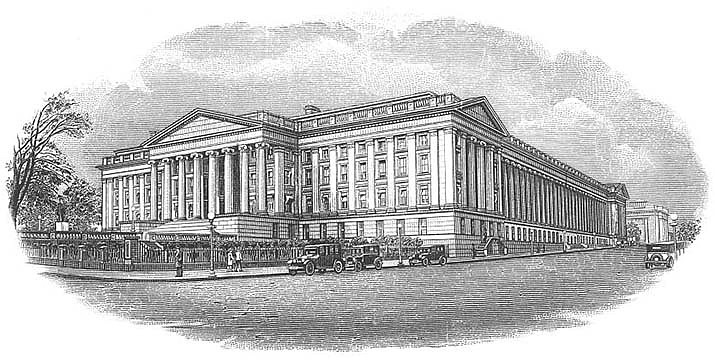 U.S. economic output fell a record 32.9% in the quarter ending June 30, the government announced Thursday, July 30. An etching of the U.S. Treasury Department in Washington is shown. (U.S. Treasury etching/Public domain)