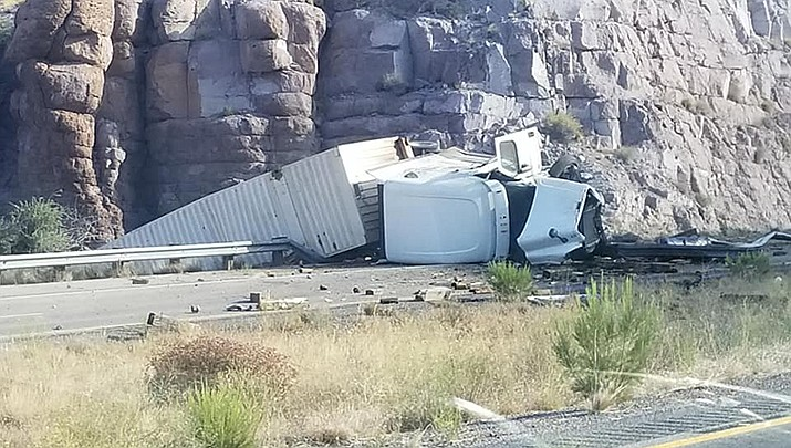 One lane on westbound Interstate 40 has reopened following a complete westbound closure resulting from a semi rollover that occurred Friday, July 31. (Photo courtesy from Michael Watkins)