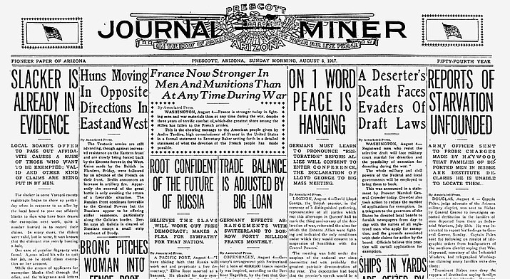 On Aug. 5, 1917, the first Arizona Regiment was drafted into the United States Army. Pictured is the Prescott Journal Miner of that date. (Courier archives)