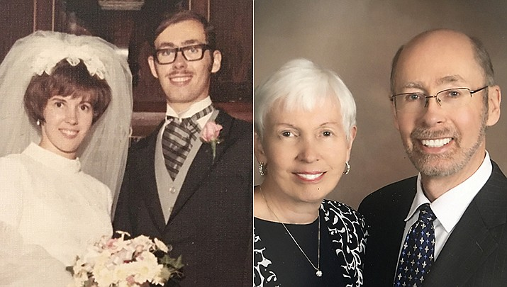 Jim and Eileen Klein will be celebrating their 50th wedding anniversary on Aug. 8, 2020, pictured then and now. (Courtesy photos)