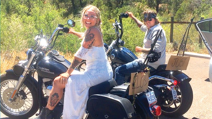 Morgan and Dylan Fitzgerald drove on Harleys from Virginia to get married in Sedona. VVN/Vyto Starinskas