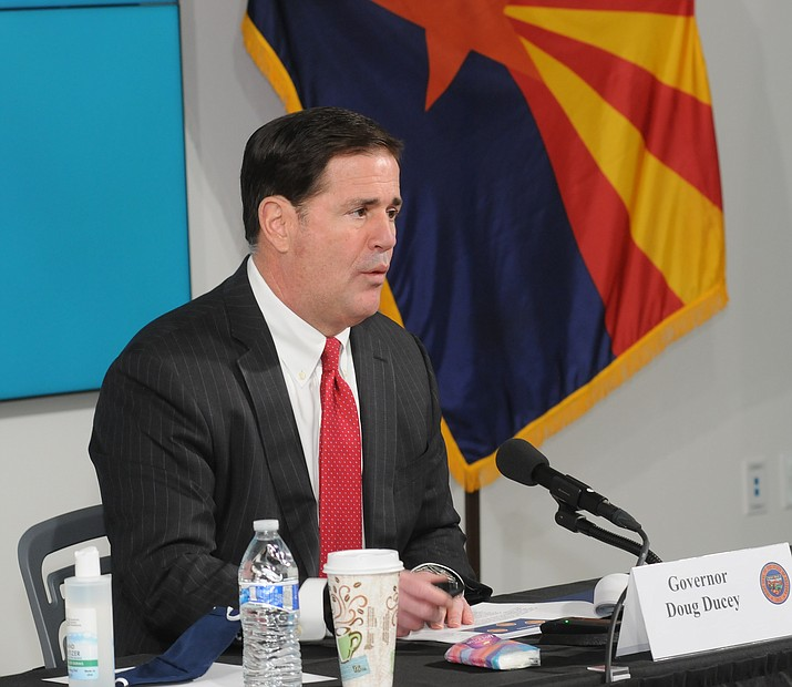 Gov. Doug Ducey answers questions Thursday, July 30, 2020, about COVID-19 and the fact that expanded jobless benefits are drying up. (Capitol Media Services photo)