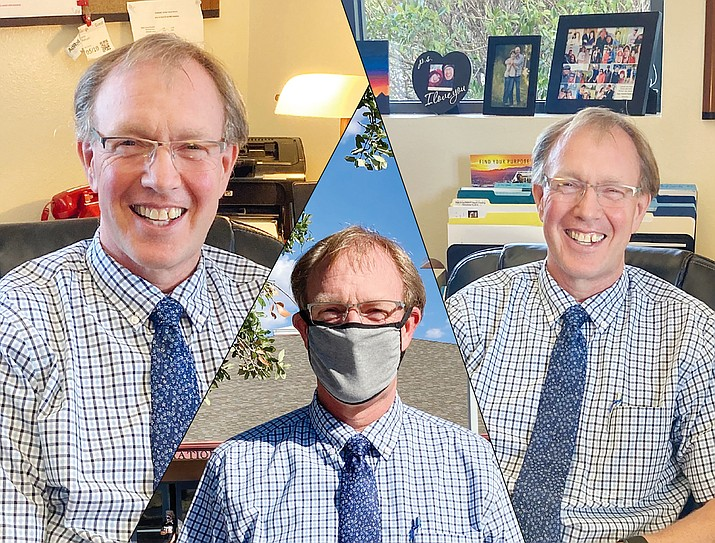 John Pothast, the new superintendent for the Humboldt Unified School District, poses in his office and outside the district office. Pothast wears a mask during in-person meetings or when he cannot socially distance from others. As schools reopen for faculty and staff, HUSD has a mask policy for anyone who is sharing space with others. (Nanci Hutson/Courier photos)