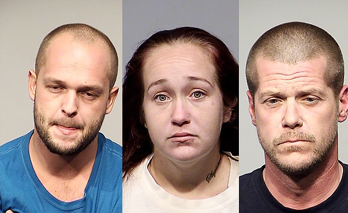Rickey Couch, 24, left, Dennise Hill, 28, of Phoenix, and Jason Stone, 40, of Cottonwood, were arrested Friday on charges that include possession of narcotics (heroin) and possession of a firearm during the commission of a felony. Courtesy of Cottonwood Police Department