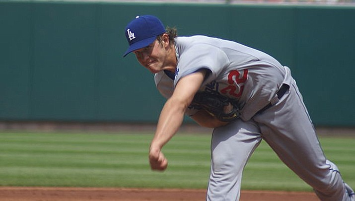 Dodgers ace Clayton Kershaw won his season debut as Los Angeles shut out the Arizona Diamondbacks 3-0 on Sunday, Aug. 2 in Phoenix. (Photo by Barbara Moore, cc-by-sa-2.0, https://bit.ly/3fqAezM)