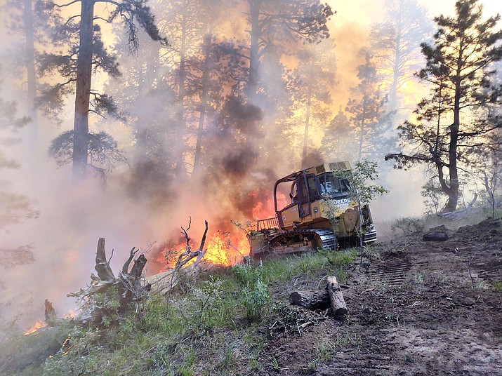 A dozer works near the Mangum Fire edge June 16. Kaibab firefighers are now working a small fire near Tusayan. (Photo/ Kaibab National Forest)