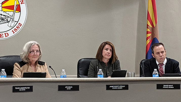 Kingman Mayor Jen Miles, left, and council member Jamie Scott Stehly, center, were re-elected during the Arizona Primary Election on Tuesday, Aug. 4. (Miner file photo)