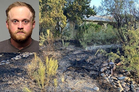 Fire damage from Saturday's blaze near Eastern Drive and Roundup Trail in Verde Village. Steven Pollock, 28, (inset) was arrested in connection with the explosion and fire. YCSO courtesy photos