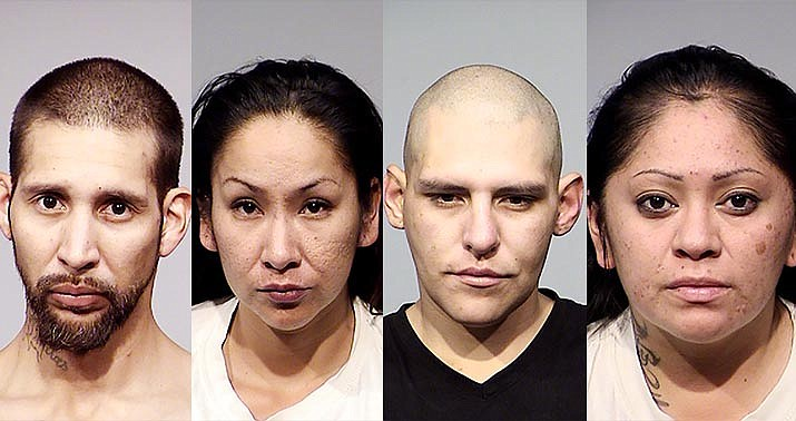 From the left are David S. Ornelas, Leslie Yaiva, Paul A. Martinez and Sherena M. Grebb, all of Flagstaff. These four people, along with a 23-year-old Flagstaff man who was cited and released on a misdemeanor charge, were booked Aug. 1 on drug charges after a traffic stop in Cottonwood. Courtesy of Cottonwood Police Department