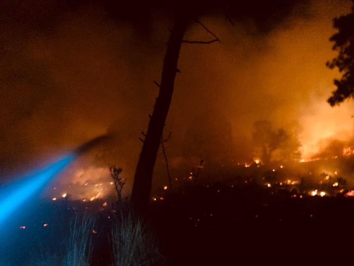 Firefighters battle a one-acre blaze near Goldwater Lake on Wednesday, Aug. 5, 2020, in Prescott. (Groom Creek Fire Patrol/Courtesy)