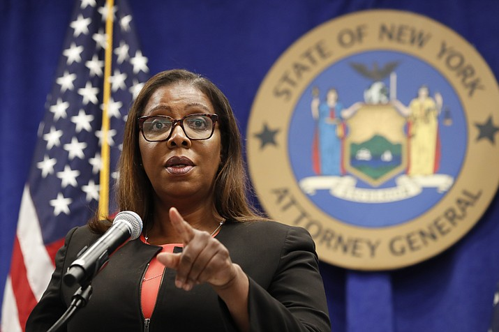 New York State Attorney General Letitia James takes a question after announcing that the state is suing the National Rifle Association during a press conference, Thursday, Aug. 6, 2020, in New York. James said that the state is seeking to put the powerful gun advocacy organization out of business over allegations that high-ranking executives diverted millions of dollars for lavish personal trips, no-show contracts for associates and other questionable expenditures. (Kathy Willens/AP)