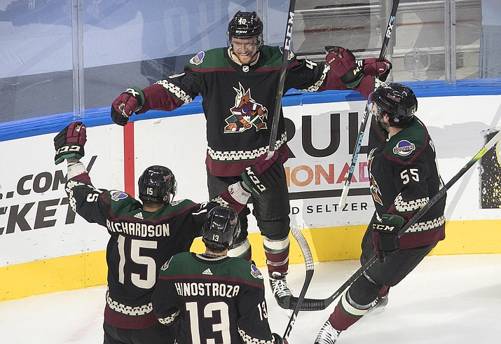 Arizona Coyotes' Michael Grabner (40) celebrates his goal with teammates during the first period of an NHL hockey game against the Nashville Predators in Edmonton, Alberta, Friday, Aug. 7, 2020. (Jason Franson/The Canadian Press via AP)