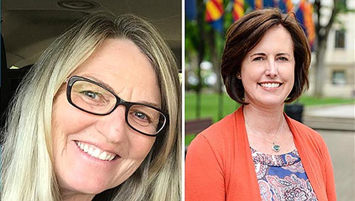 For Colleen Kerr, left, the principalship at the Camp Verde campus of American Heritage Academy is a return home. For Amy Hitt, leading American Heritage's Cottonwood campus is her first job in education in Arizona.