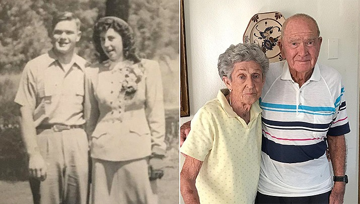 Sheldon and Delora Coffelt of Dewey, Arizona, have celebrated their 73rd wedding anniversary, pictured then and now. (Courtesy photos)
