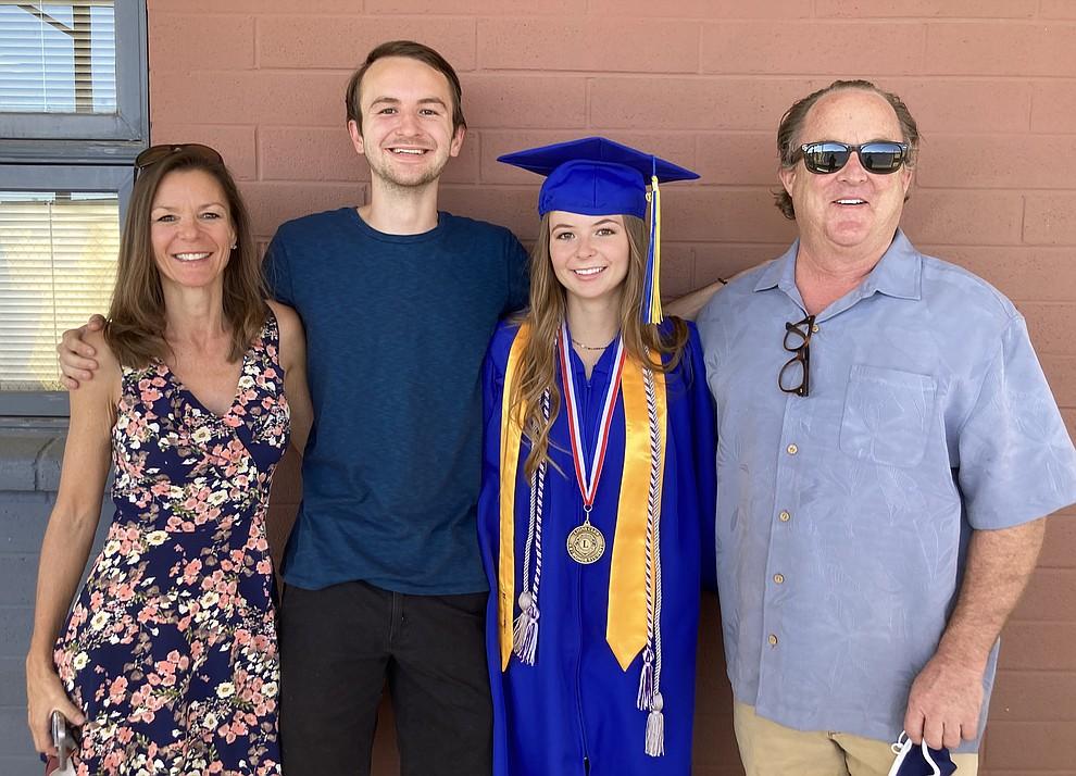 Prescott High School graduate Makenna Gallus and her family at the school's graduation Saturday, Aug. 8, 2020. (Nanci Hutson/Courier)