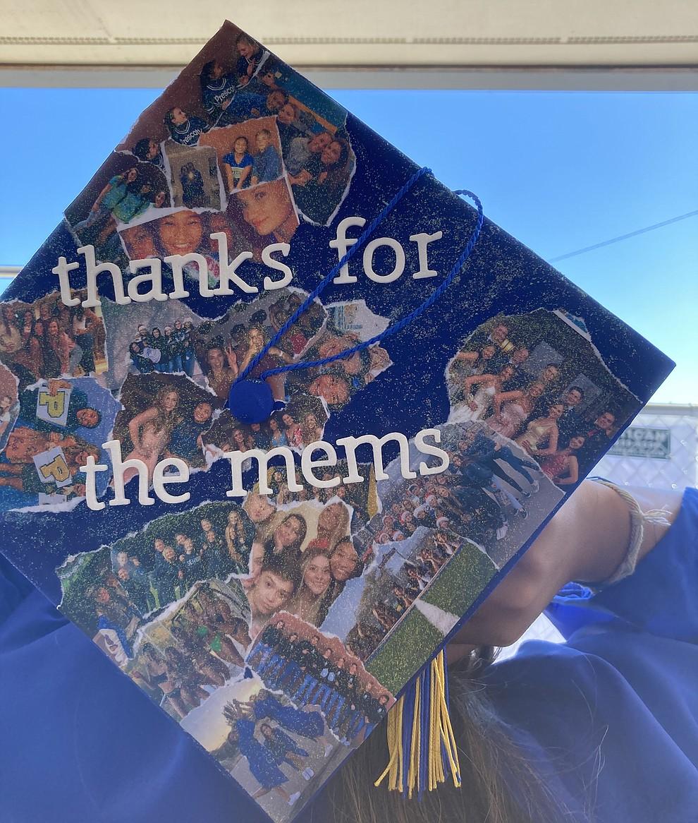 Prescott High School graduate Emma Arroyo's decorated cap at the school's graduation Saturday, Aug. 8, 2020. (Nanci Hutson/Courier)