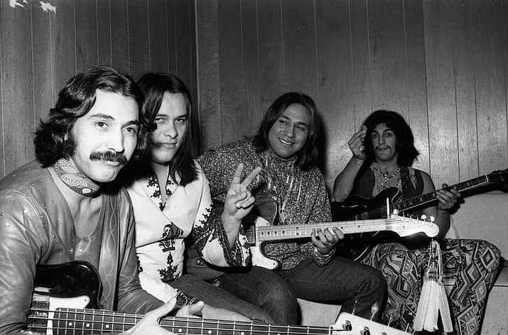 Redbone members, from left to right: Pat Vegas, Pete DePoe, Lolly Vegas and Tony Bellamy (Photo: Sony Music Entertainment)Redbone members, from left to right: Pat Vegas, Pete DePoe, Lolly Vegas and Tony Bellamy (Photo: Sony Music Entertainment via Indian Country Today)