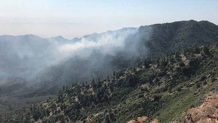 The Ridge Fire in the Hualapai Mountains, which began Sunday, Aug. 16, had burned 85 acres as of the morning of Tuesday, Aug. 18. (Photo courtesy of BLM)