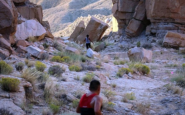 Runners in the Louis Tewanima 10K Footrace usually make their way over a rugged trail on Hopi land. In 2020, the 47th annual race will be conducted from whatever location runners choose after organizers decided to shift to a virtual race because of safety concerns over COVID-19.  (Photo courtesy of Sam Taylor)