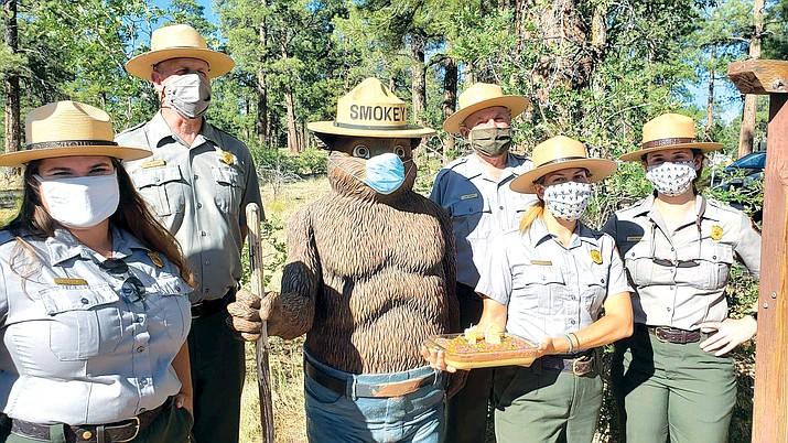 Park rangers celebrate Smokey's 76th birthday at the Tusayan Ranger Station Aug. 10. (Photos/Grand Canyon National Park)