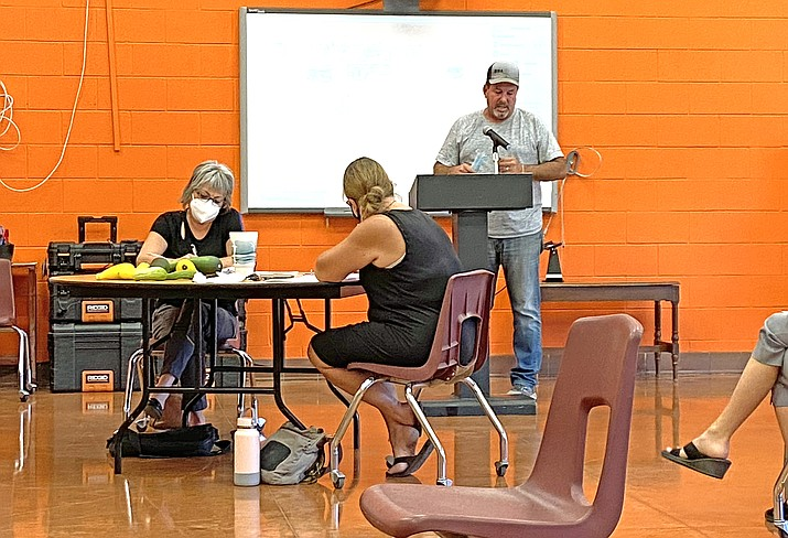 Williams' community member Tanner Logan (right) addresses WUSD Governing Board Aug. 12 during a town forum to discuss in-person and remote learning for the 2020-2021 year. (Wendy Howell/WGCN)
