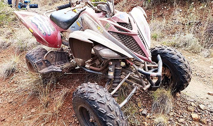 This Raptor off-road vehicle was involved in a July 26 accident in which a man and a woman were airlifted to a hospital. The Yavapai County Sheriff's Office said this vehicle was stolen from the scene. Courtesy of YCSO