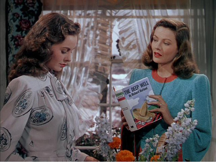 Gene Tierney, left, and Jeanne Crain star in Leave Her to Heaven (1945), which is the featured attraction at the monthly movie night at the Kathryn Heidenreich Adult Center, 1776 Airway Ave., on Friday, Aug. 28, 2020. (IMDb photo)