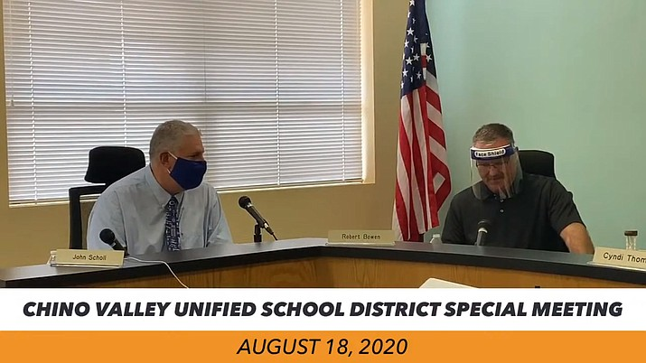 Chino Valley Unified School District Superintendent John Scholl, left, presents to the governing board tentative dates to transition to hybrid instruction on Sept. 8 and full in-person instruction on Oct. 19 during a special meeting Tuesday, Aug. 18, 2020. (Screenshot)