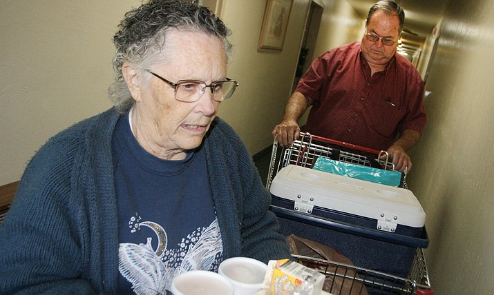 Marie DeClue and Ron Posten deliver meals to Camp Verde senior citizens through the Verde Valley Senior Center's Meals on Wheels program. VVN/Bill Helm