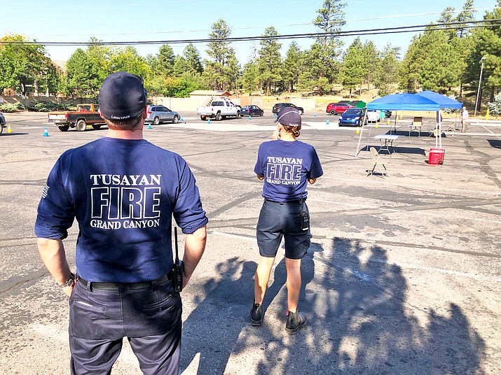 Tusayan Fire District personnel assist with COVID-19 testing Aug. 18 in Tusayan. (Photo courtesy of Greg Brush, Tusayan Fire District)