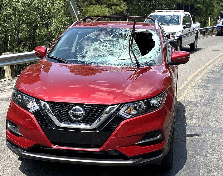 One man was injured when an unsecured wheel came through the windshield of his vehicle Aug. 24. (Photo/Williams Police Department)